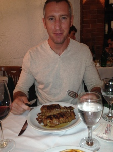 There is only one reason to be eating a meal of all protein -- you're in a foreign country and can't read the menu, like my husband here in Argentina.